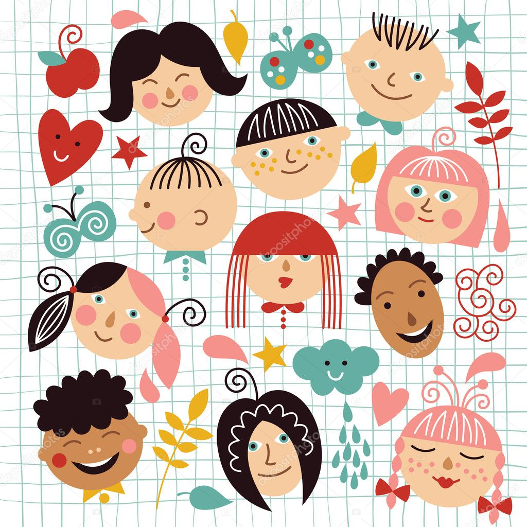 Set of funny face of children