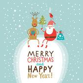 Natale e Capodanno auguri, Babbo Natale con sacco di regali e albero di Natale e cervi divertenti