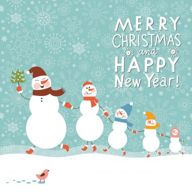 Family of snowmen, greeting Christmas card