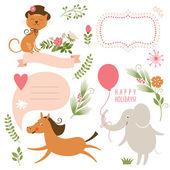 serie di illustrazioni di animali ed elementi grafici per biglietti dinvito