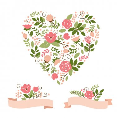 Floral banners and heart, vector collection