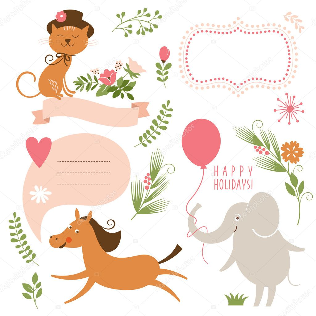 Set of animals illustrations and graphic elements for invitation cards