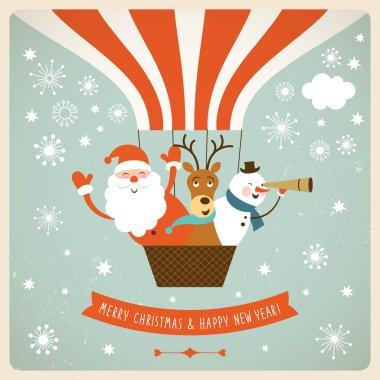 Santa, deer and snowman fly a hot air balloon clip art vector