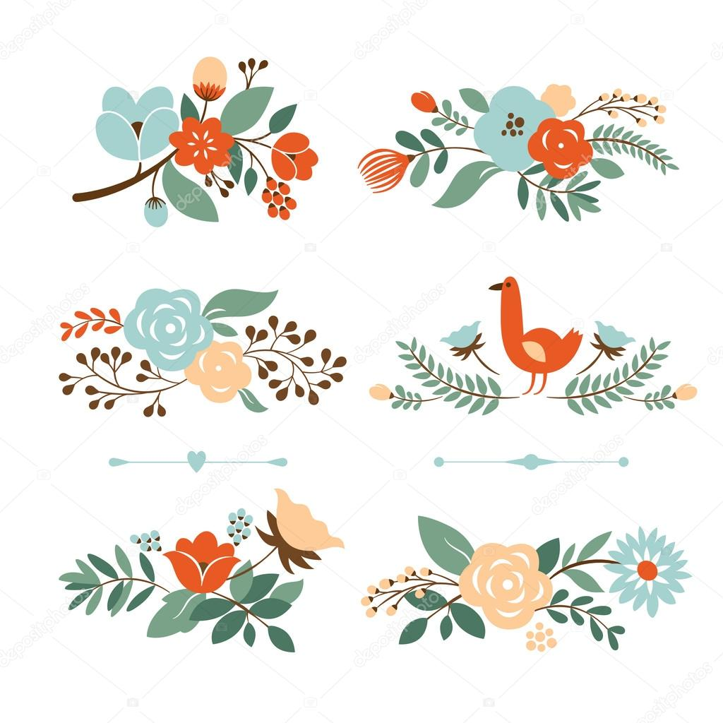 Floral graphic set, vector collection