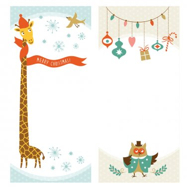 Giraffe xmas background in vector format