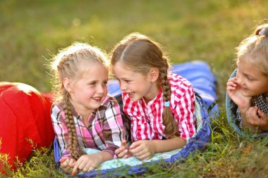 portrait of girlfriends summer camp