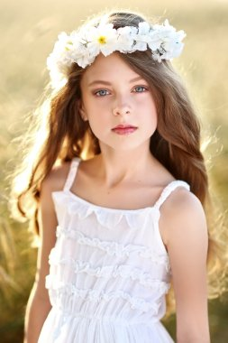 portrait of a beautiful little girl in a field