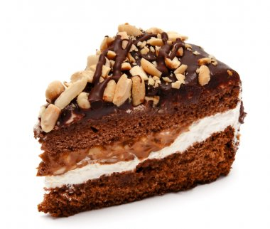Piece of chocolate cake with peanut isolated