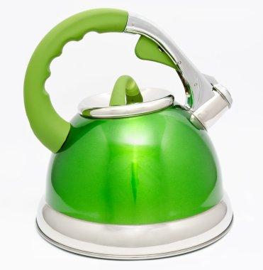 Green tea kettle isolated on white