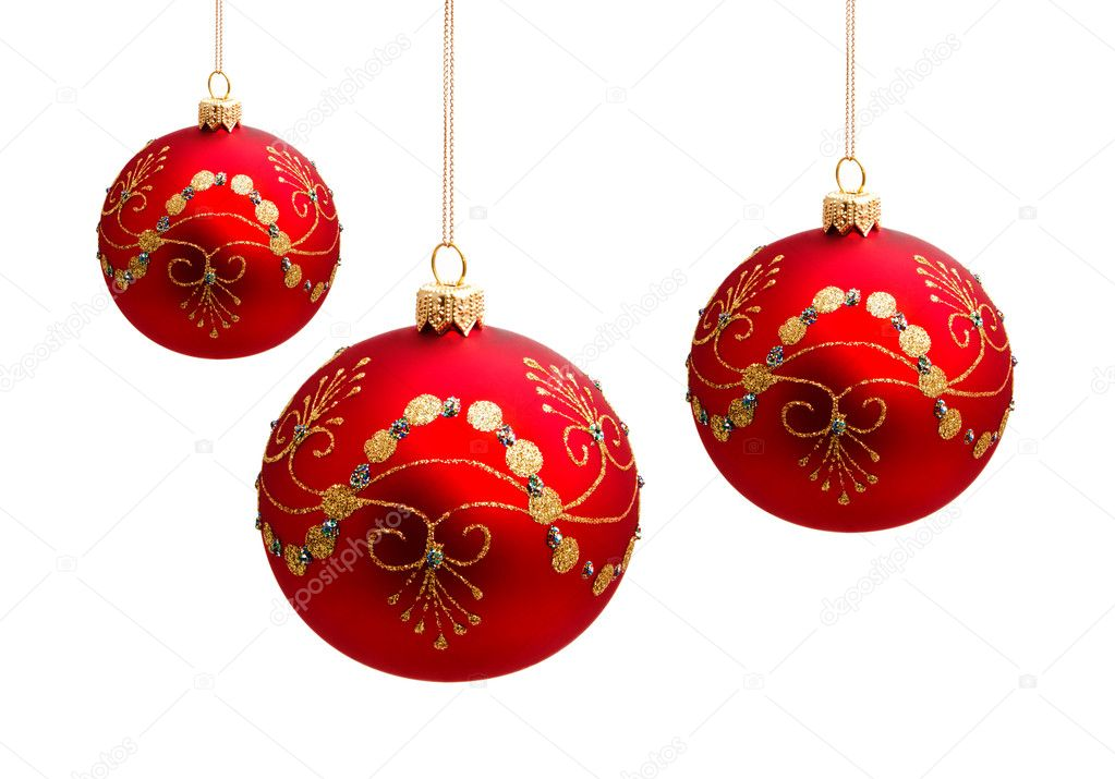 Perfect christmas balls isolated on white