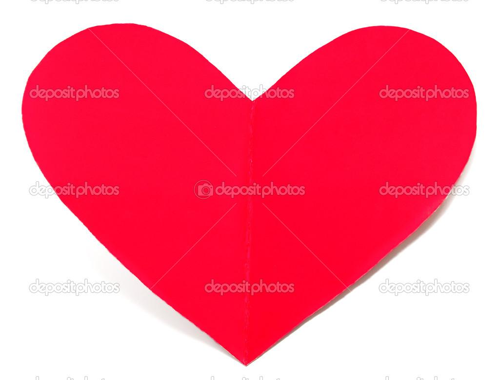 Urlaub Karte Herz Aus Papier Isoliert Valentinstag Stockfoto