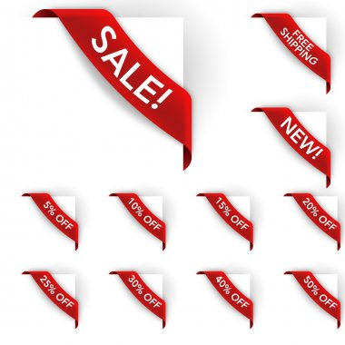 Red Sale and E-Commerce Labels