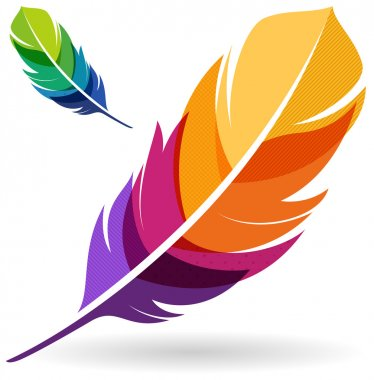 Colorful feathers design element. clip art vector