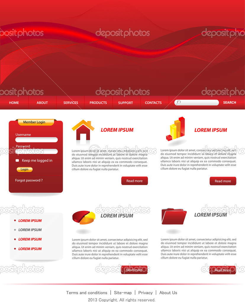 red website template stock vector monicaodo 27379949. Black Bedroom Furniture Sets. Home Design Ideas