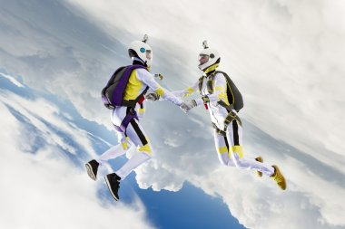 Skydivers in freefall.