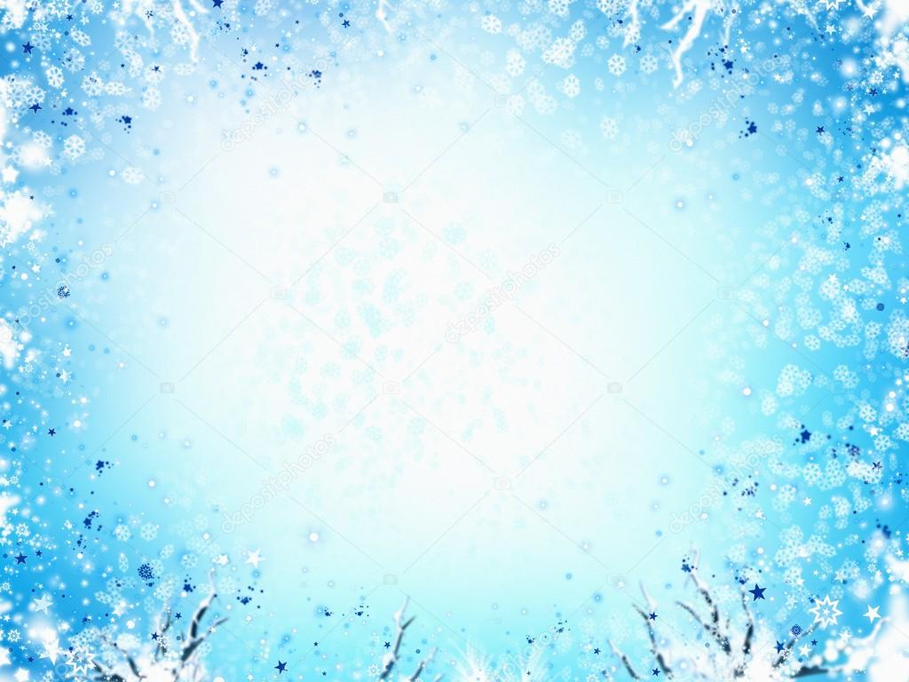 Winter frame light blue background, with stars and snowflakes ...