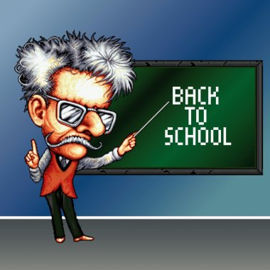 8 bit pixel teacher on the school blackboard background with phrase Back to school