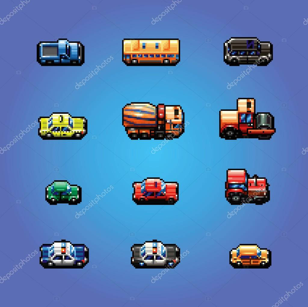 Pixel Art Cars Collection Vector Illustration Stock