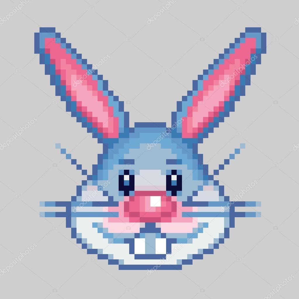 Tête De Lapin De Pâques Pixel Art Style Vecteur Image