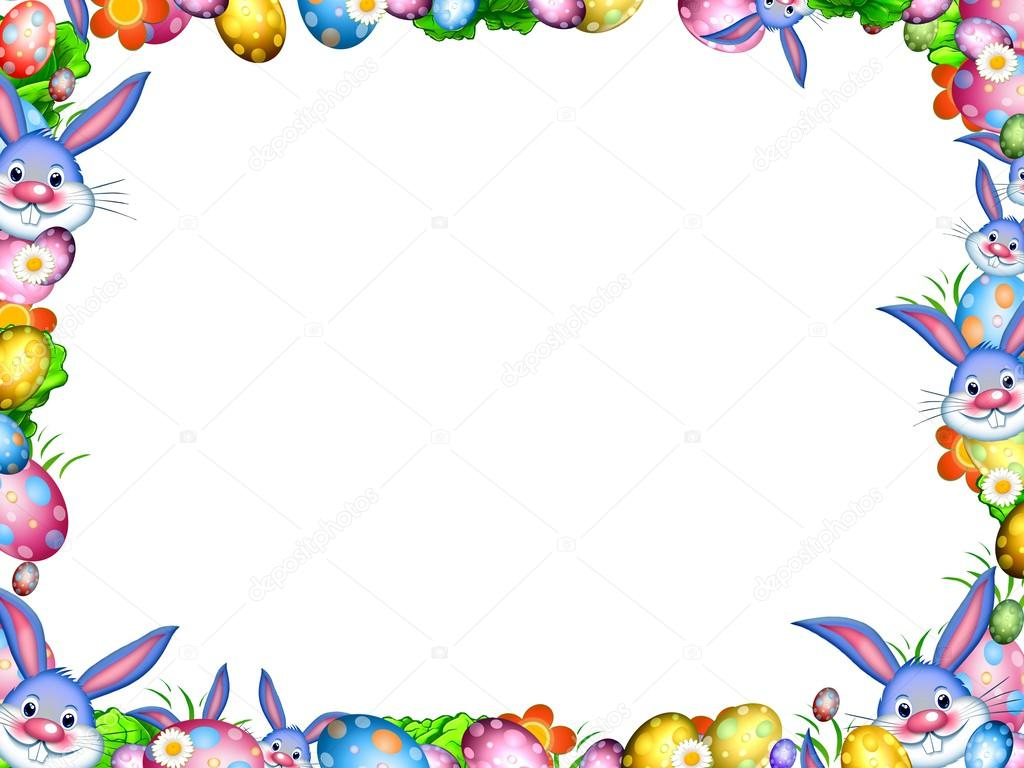 easter bunnies with colorful eggs and flowers border frame u2014 stock