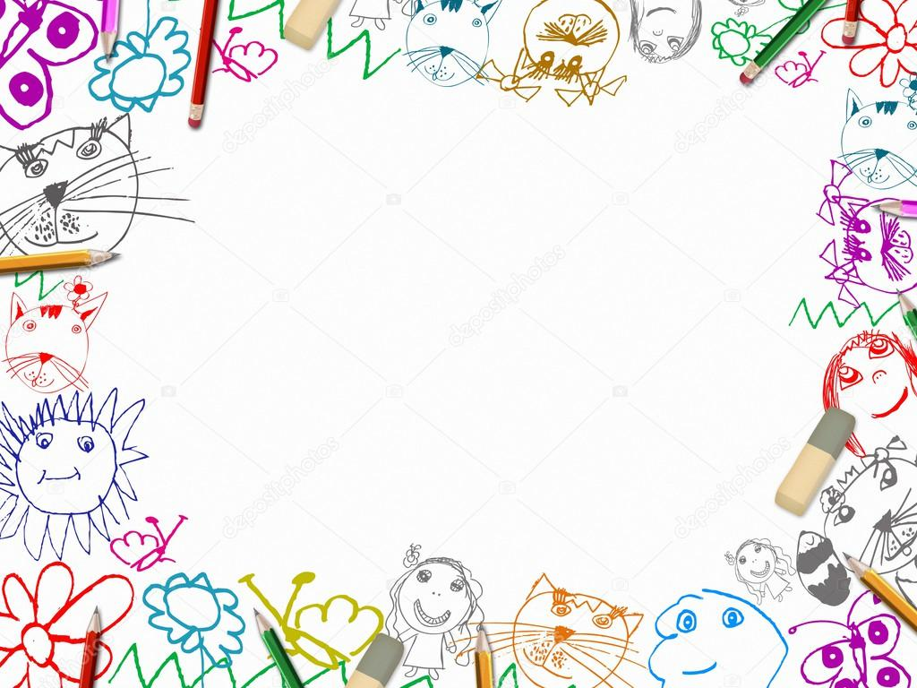 Stock Photo Childrens Drawings With Pencils Frame on Preschool Summer