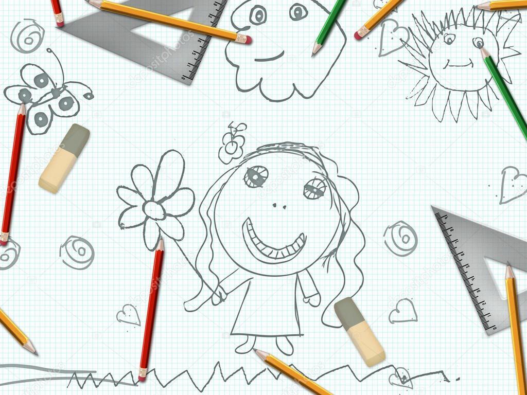 Kinder Bleistift Madchen Zeichnen Schulbank Stockfoto