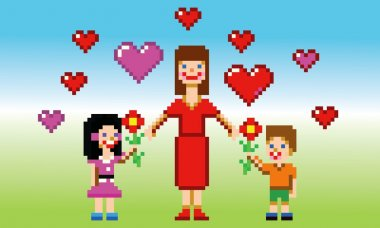 Happy mothers day card pixel art style vector illustration clip art vector