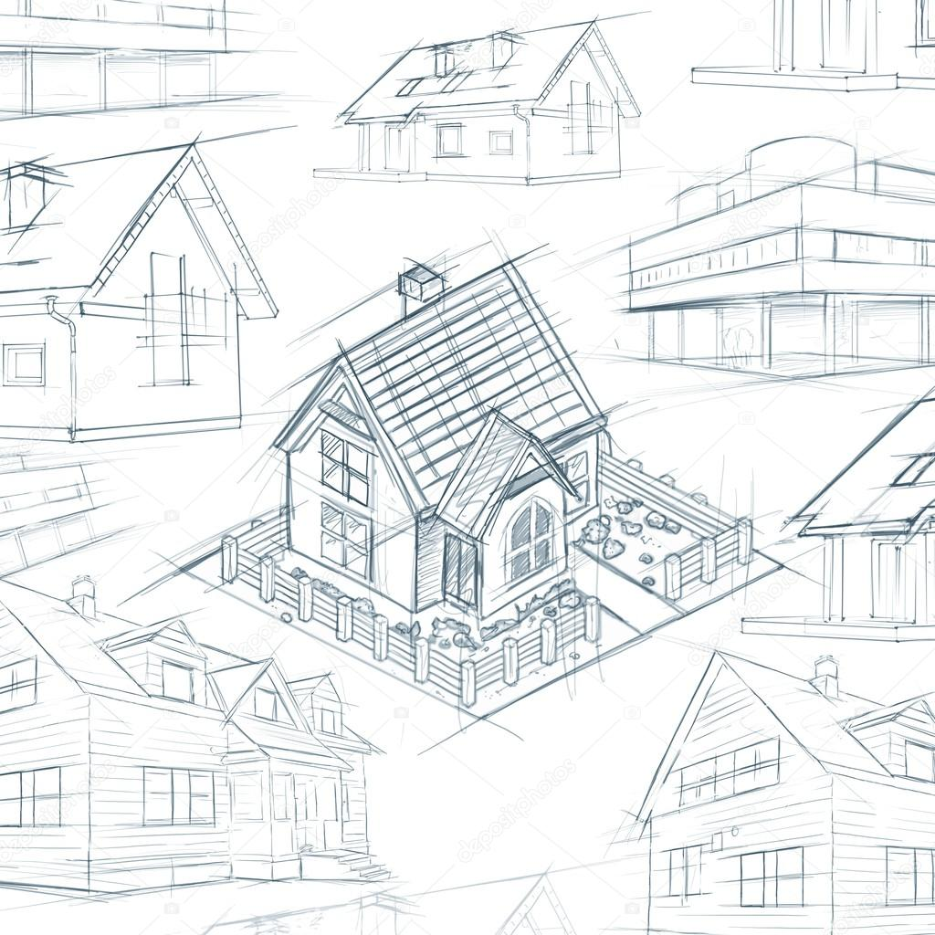 architect desktop house sketch background