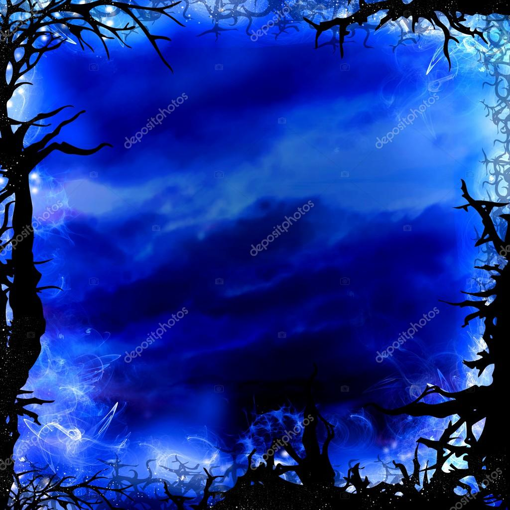 Фотообои dark blue forest square background frame