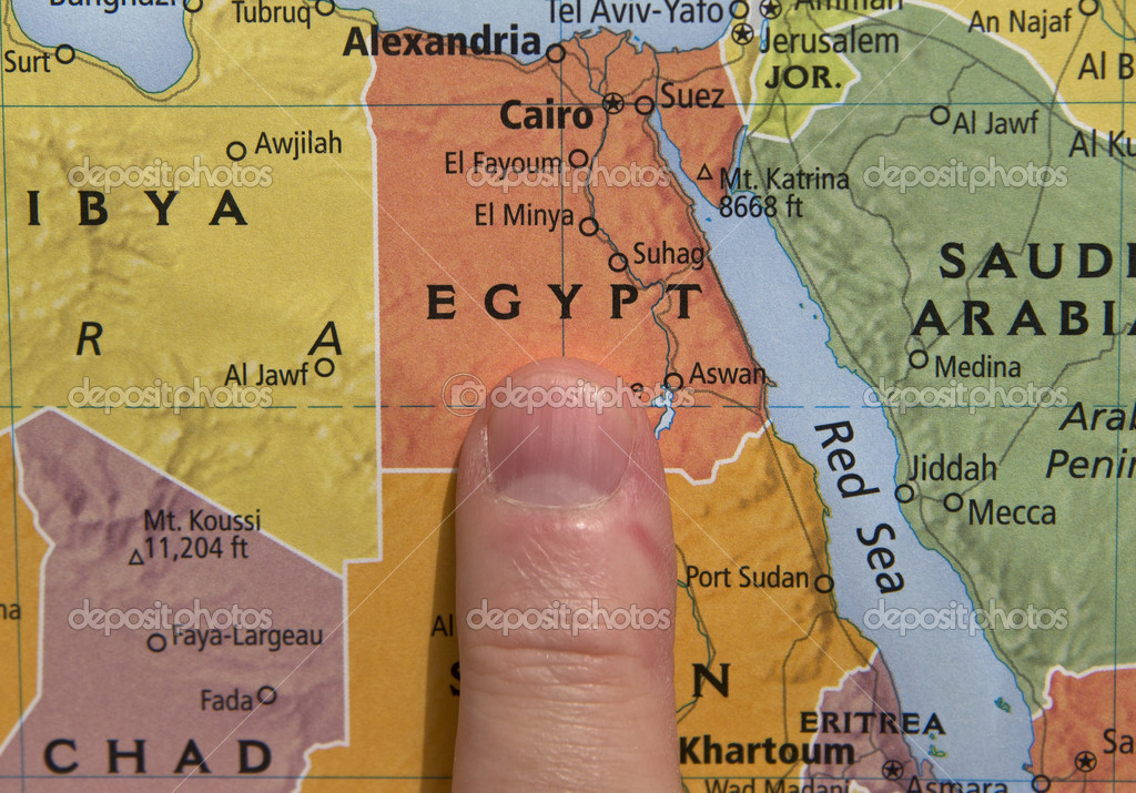 Finger Pointing To Egypt On A Map Stock Photo Jjvallee - Map of fayoum egypt