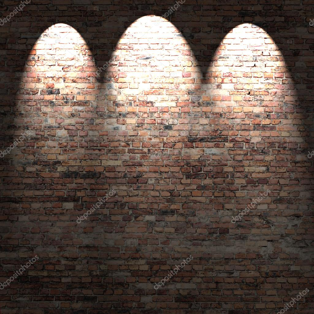 Red brick wall background in basement with streaks of light ? Stock Photo ? RoyStudio #14048796