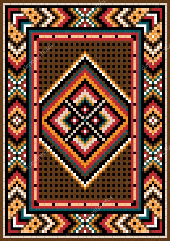 diseño asiático en el marco de la alfombra — Archivo Imágenes ...