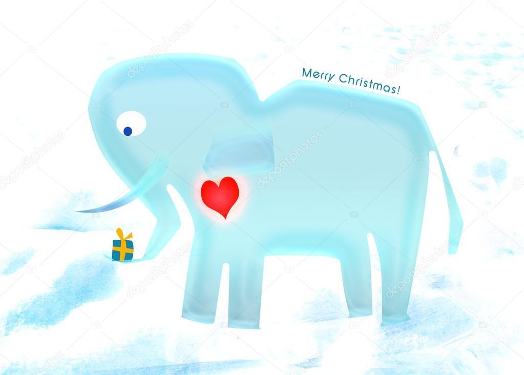 Weihnachten-Elefant — Stockfoto © bhary #17175671