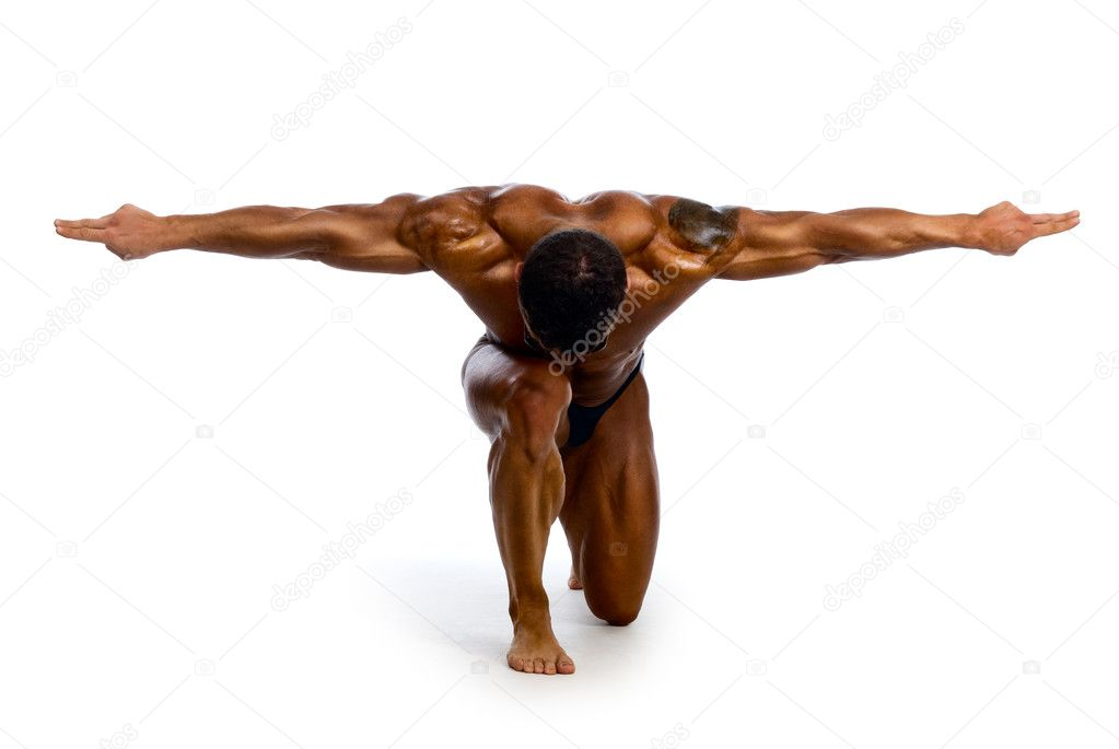 Muscular man with outstretched arms