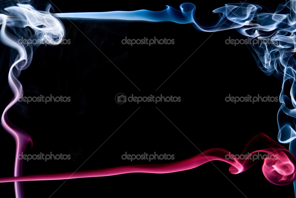 Beautiful Abstract Frame Made Of Red And Blue Smoke