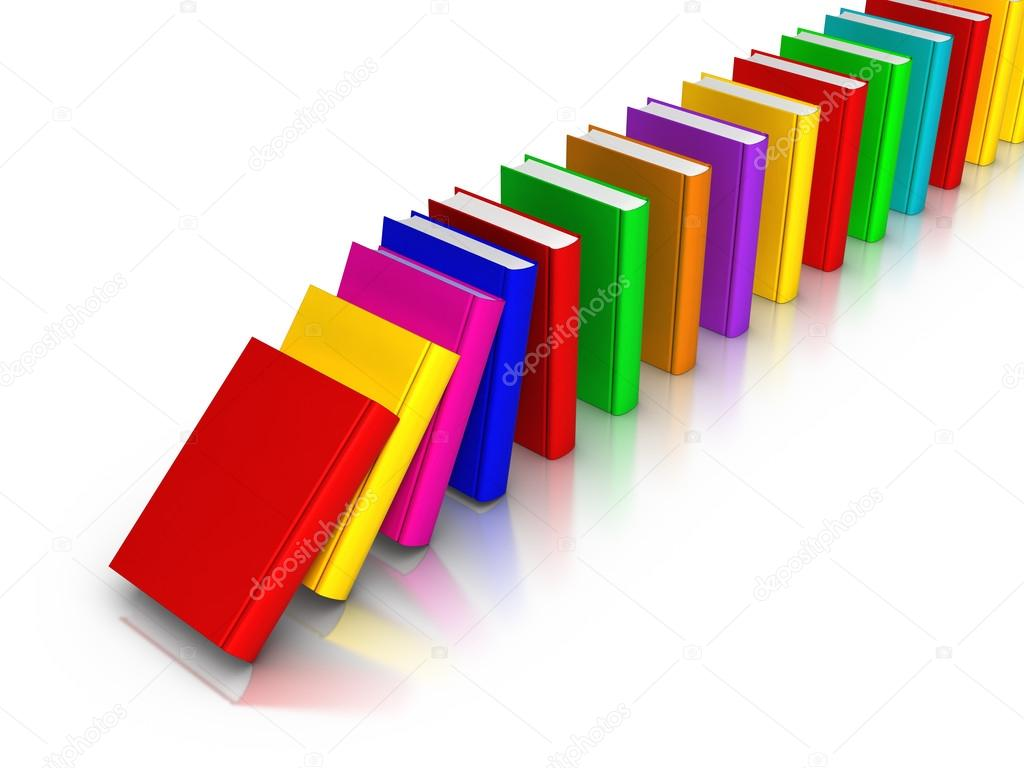 fila de libros coloridos cayendo como domino — Fotos de Stock ...