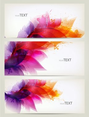 Set of abstract cards with flowers colorful elements with blots.
