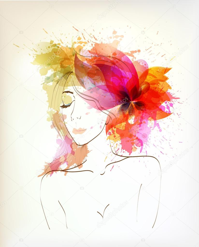 Beautiful fashion women with abstract flower and blots.