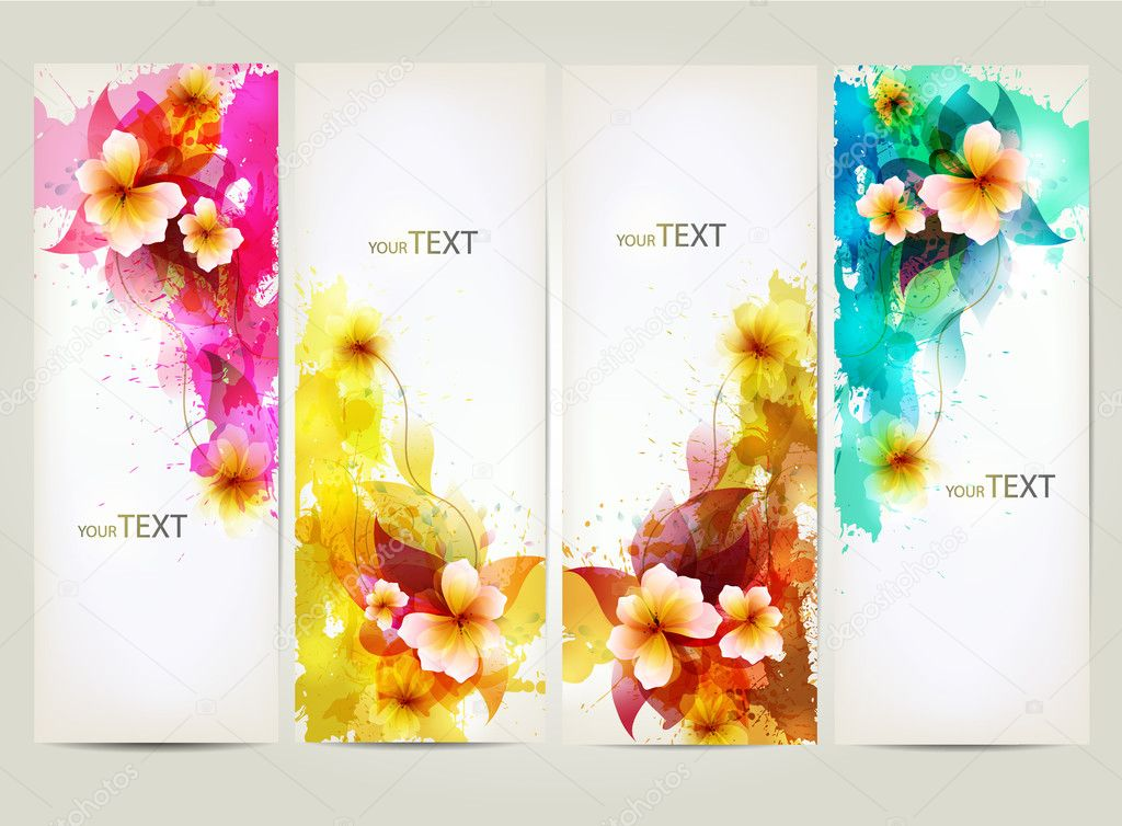 Set of flowers element and colorful blots.Design brochure template with floral elements