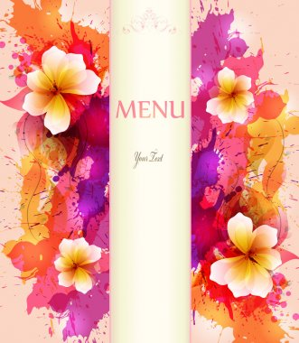 Design background with hand drawn vintage flowers and colorful blots.