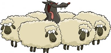 A wolf in sheep herd vector illustration stock vector
