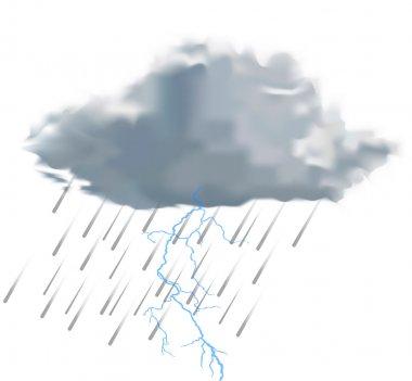 Rain cloud with raindrops and lightning