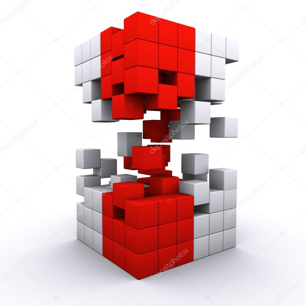 3D rendered 3d cube assembling from blocks