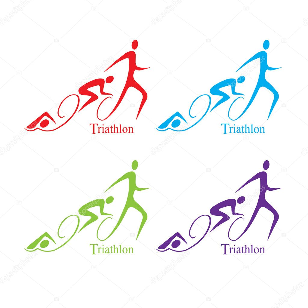 Vector triathlon symbol set