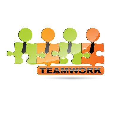 Vector modern puzzle Teamwork symbol