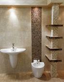Fotografie stylové moderní koupelna s umyvadlem a WC