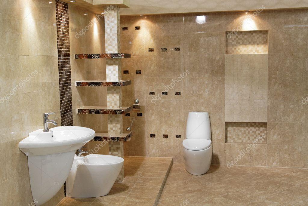 estilo minimalista moderno cuarto de baño de interior de lujo ...