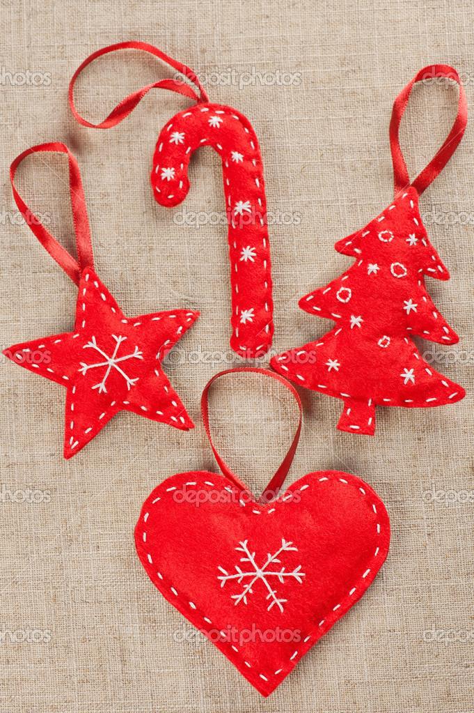 Fieltro adornos navide os foto de stock mholka 16804357 - Adornos de navidad hechos a mano ...