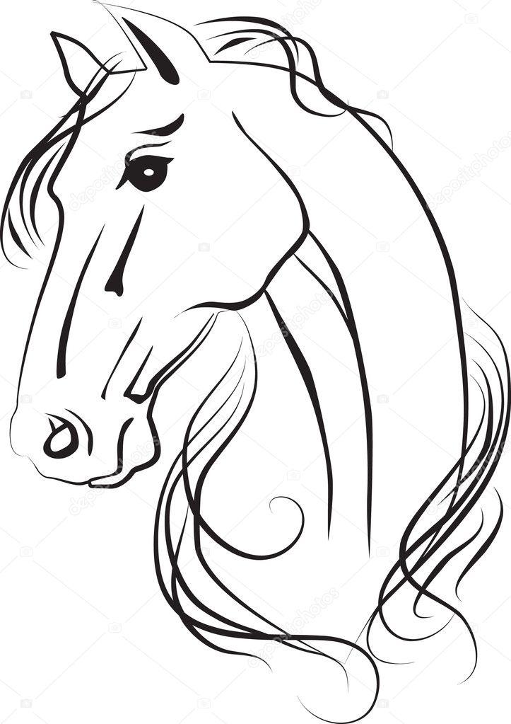 Dessin isol de t te de cheval photographie anilin - Dessin tete de cheval ...