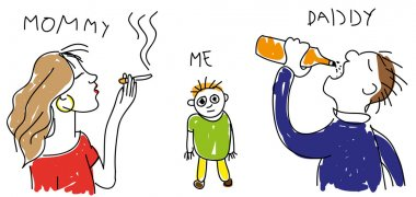Child's drawing of him and his parents with alcohol and smoking addictions. clip art vector